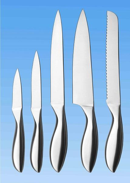 5-pc Kitchen Knife Set | All Stainless | Fish Belly Shape Handle