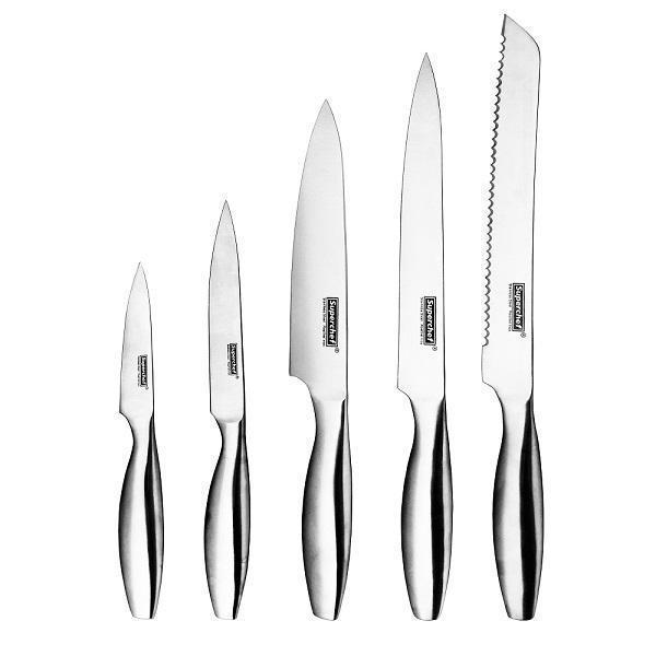 5-pc Kitchen Knife Set | All Stainless with Fish Belly Shape Handle